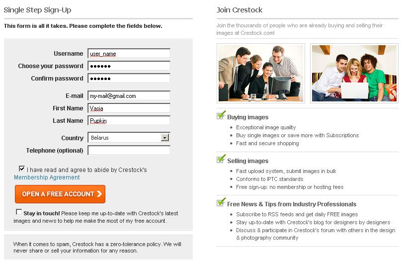 Как зарегистрироваться на Crestock