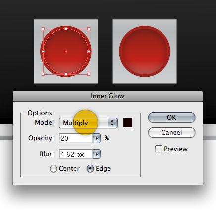 Внутреннее Свечение (Inner Glow) для остальных кнопок