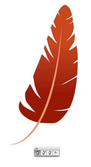рисуем ось пера и добавляем красный градиент