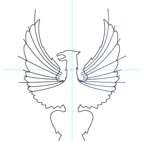 Копируем линии и зеркально отражаем