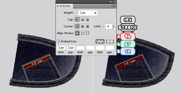 Рисуем линии и задаем параметры обводки