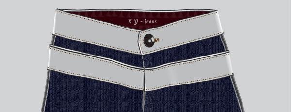 Перетаскиваем пуговицу на джинсы