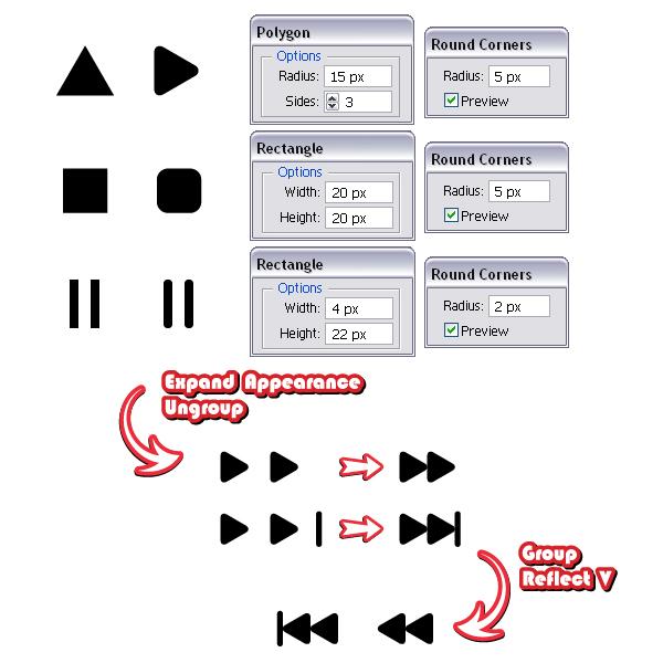 Создаем символы для кнопок
